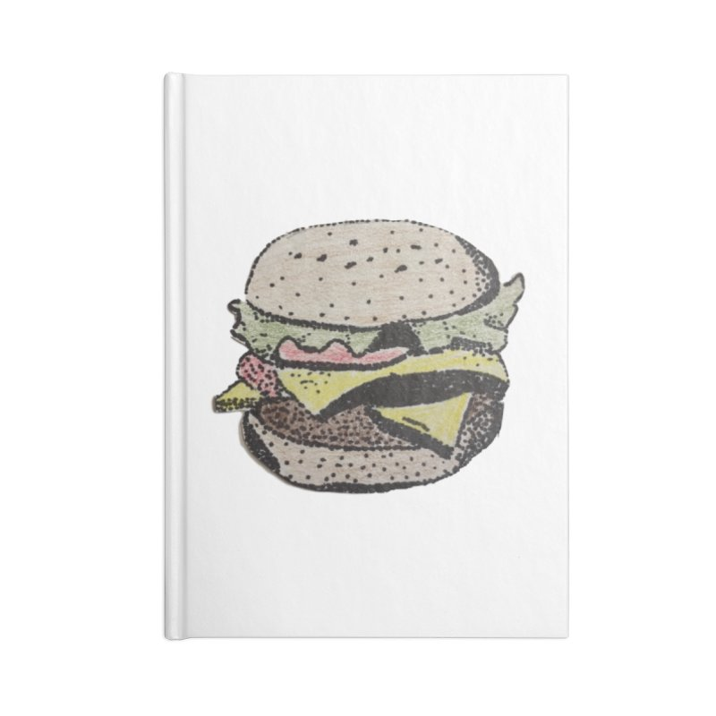 pointillism burger Accessories Notebook by burgers on t-shirts.