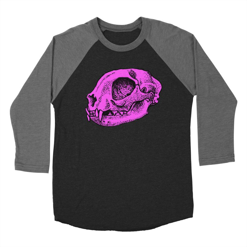 Pink Kitty Skull Men's Baseball Triblend T-Shirt by Ben Licata's Artist Shop