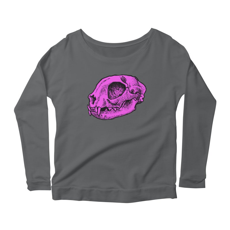 Pink Kitty Skull Women's Longsleeve Scoopneck  by Ben Licata's Artist Shop