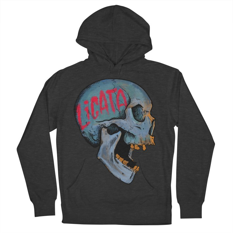 Blue Skull Women's French Terry Pullover Hoody by Ben Licata's Artist Shop