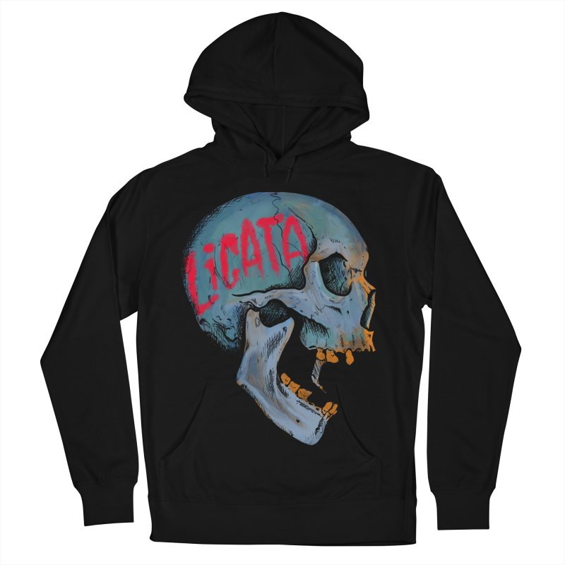 Blue Skull Men's French Terry Pullover Hoody by Ben Licata's Artist Shop