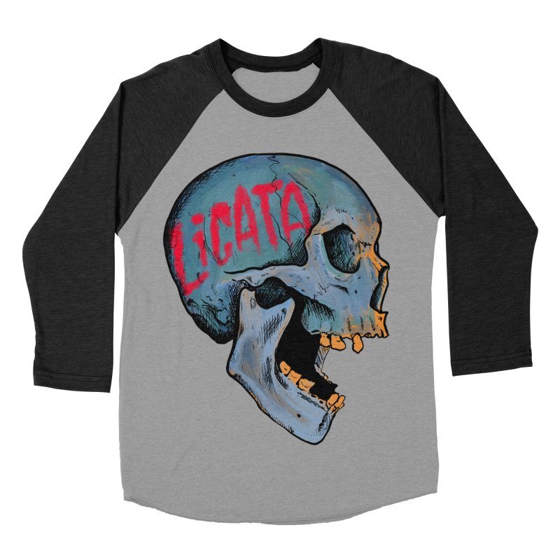 Blue Skull Men's Baseball Triblend Longsleeve T-Shirt by Ben Licata's Artist Shop