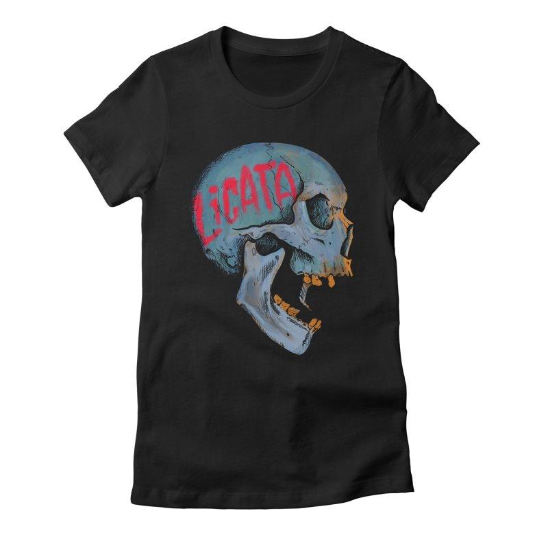 Blue Skull Women's Fitted T-Shirt by Ben Licata's Artist Shop