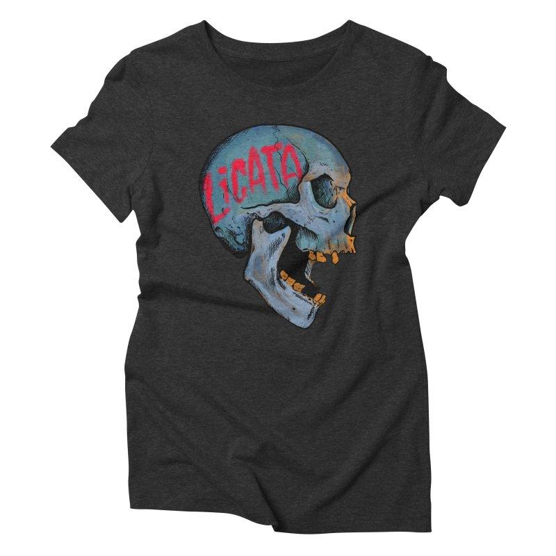 Blue Skull Women's Triblend T-Shirt by Ben Licata's Artist Shop