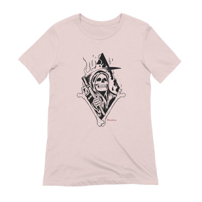 Flaming Reaper Women's Extra Soft T-Shirt by Ben Licata's Artist Shop