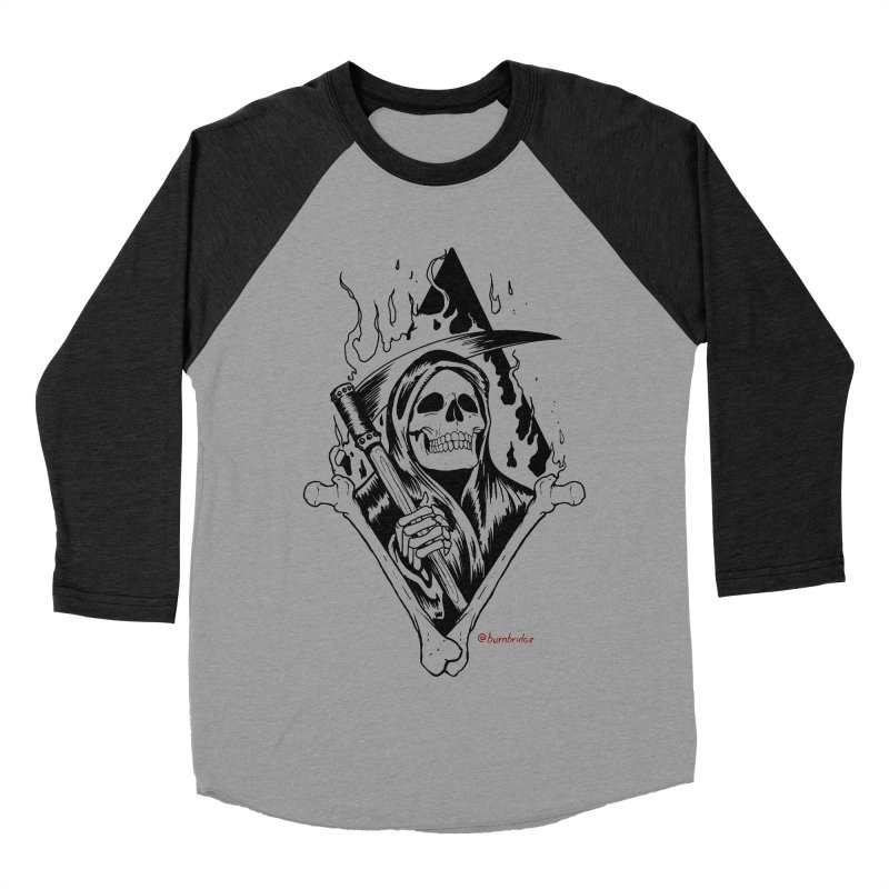 Flaming Reaper Women's Baseball Triblend Longsleeve T-Shirt by Ben Licata's Artist Shop