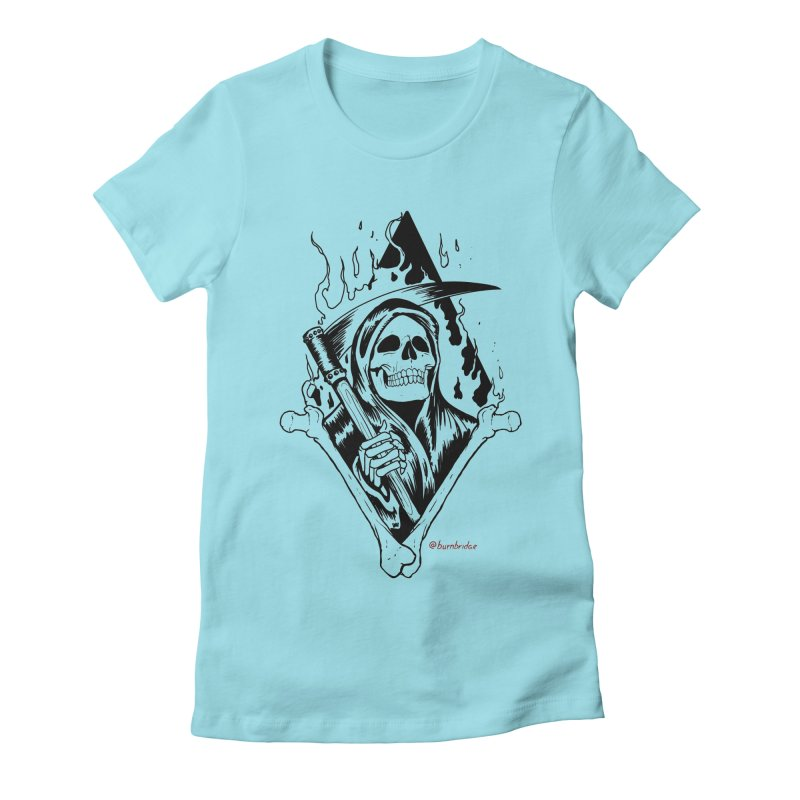 Flaming Reaper Women's Fitted T-Shirt by Ben Licata's Artist Shop