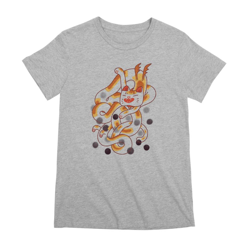 Boba Cat Dragon Women's Premium T-Shirt by Burrito Goblin