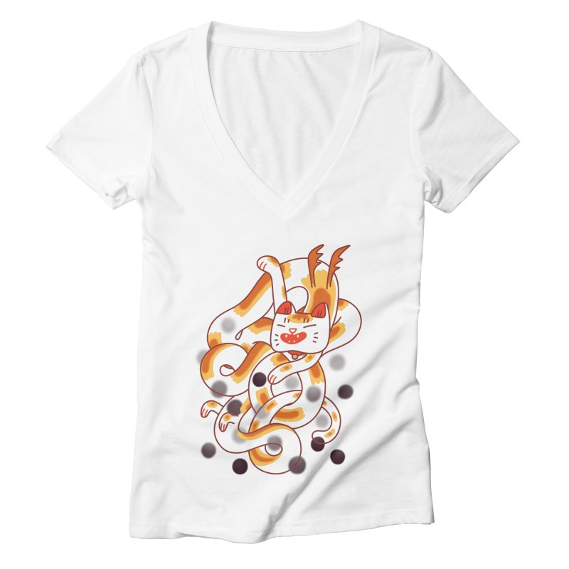 Boba Cat Dragon Women's V-Neck by Burrito Goblin