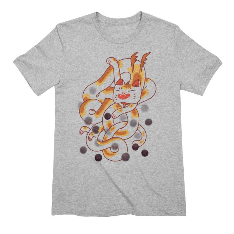 Boba Cat Dragon Men's Extra Soft T-Shirt by Burrito Goblin