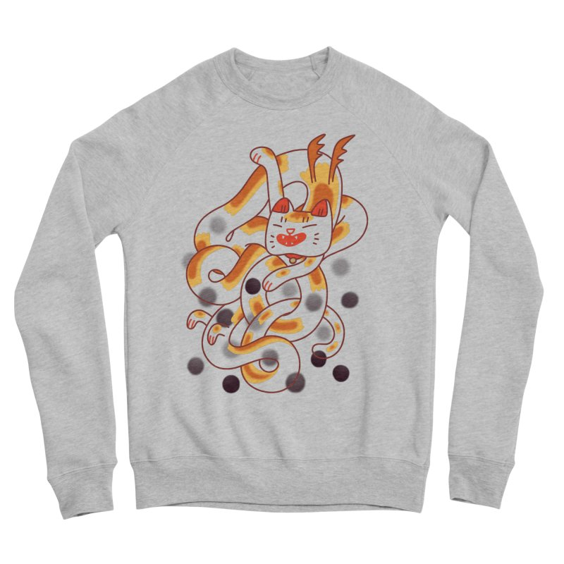 Boba Cat Dragon Men's Sponge Fleece Sweatshirt by Burrito Goblin