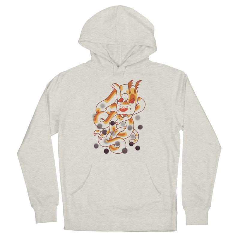 Boba Cat Dragon Men's French Terry Pullover Hoody by Burrito Goblin