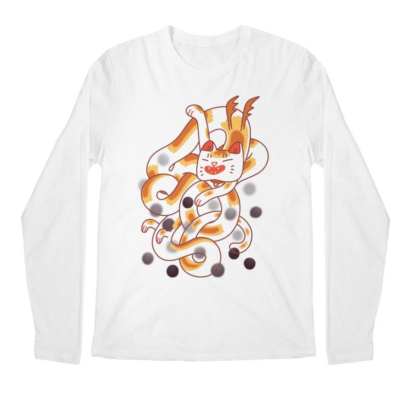 Boba Cat Dragon Men's Regular Longsleeve T-Shirt by Burrito Goblin