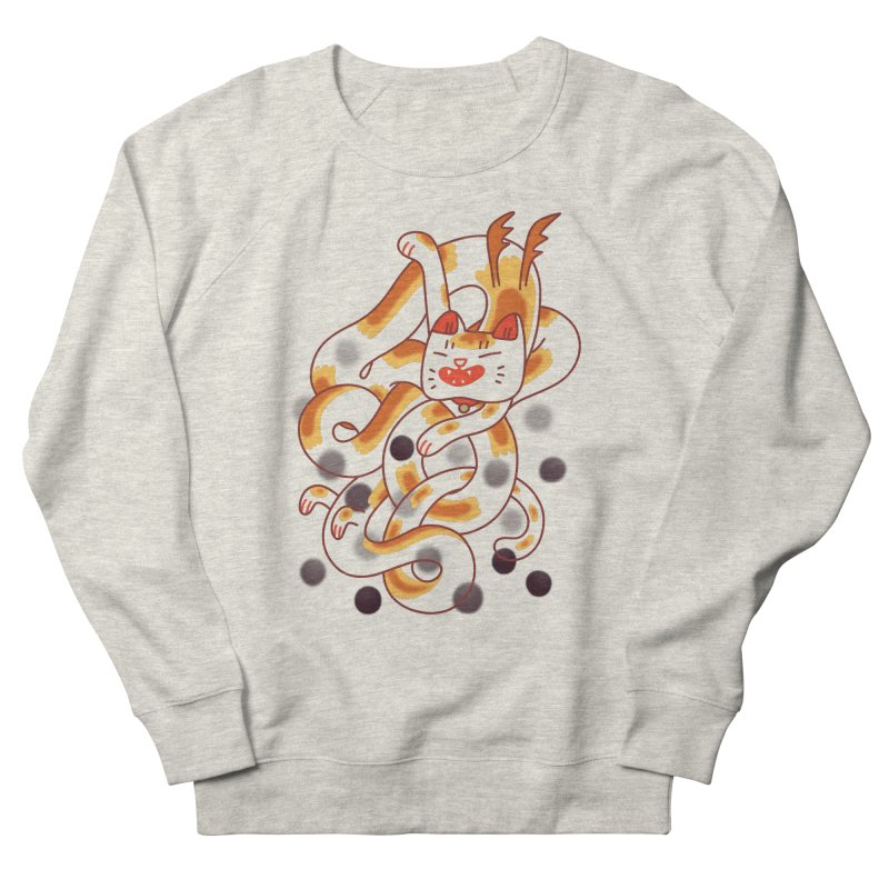 Boba Cat Dragon Women's French Terry Sweatshirt by Burrito Goblin
