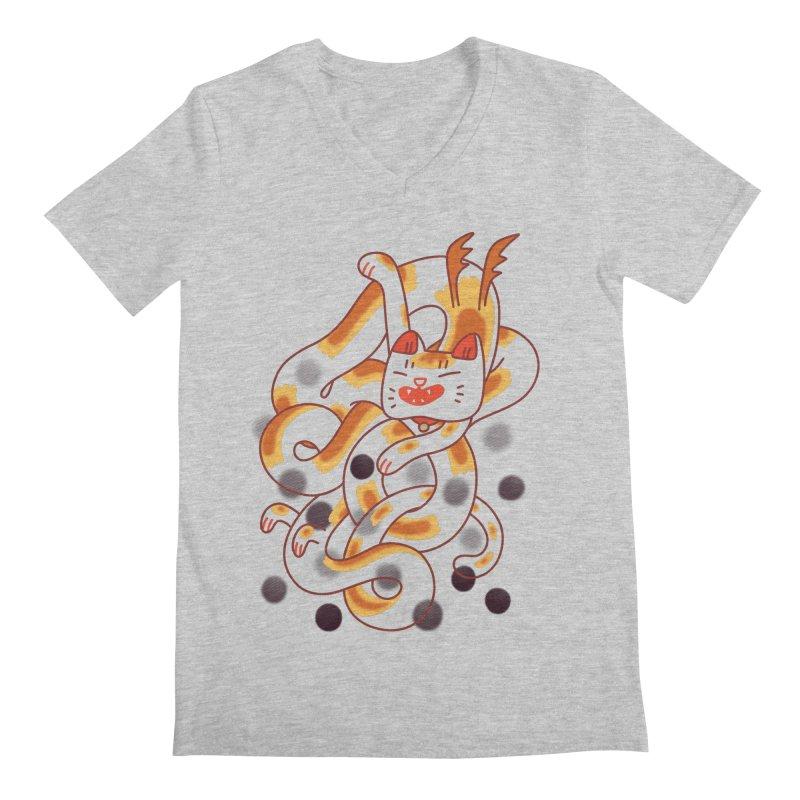 Boba Cat Dragon Men's Regular V-Neck by Burrito Goblin