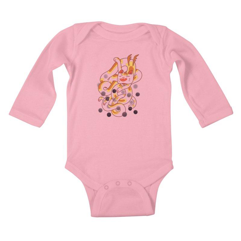 Boba Cat Dragon Kids Baby Longsleeve Bodysuit by Burrito Goblin