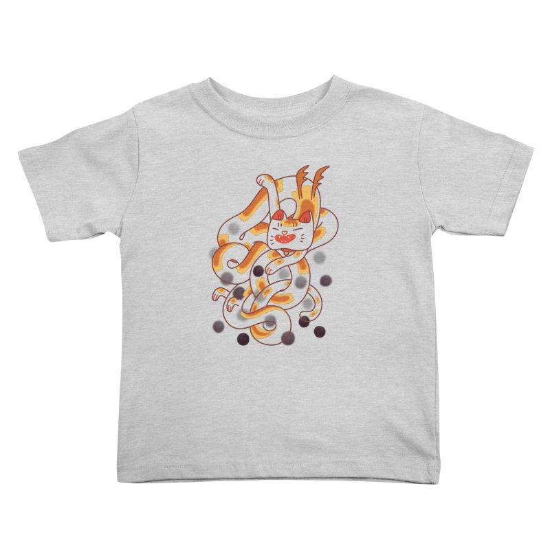 Boba Cat Dragon Kids Toddler T-Shirt by Burrito Goblin