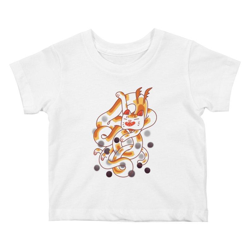 Boba Cat Dragon Kids Baby T-Shirt by Burrito Goblin