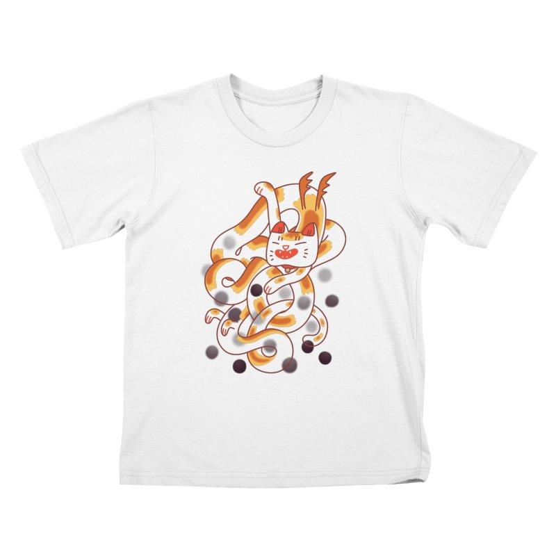 Boba Cat Dragon Kids T-Shirt by Burrito Goblin