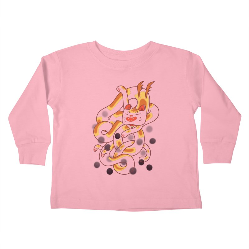 Boba Cat Dragon Kids Toddler Longsleeve T-Shirt by Burrito Goblin