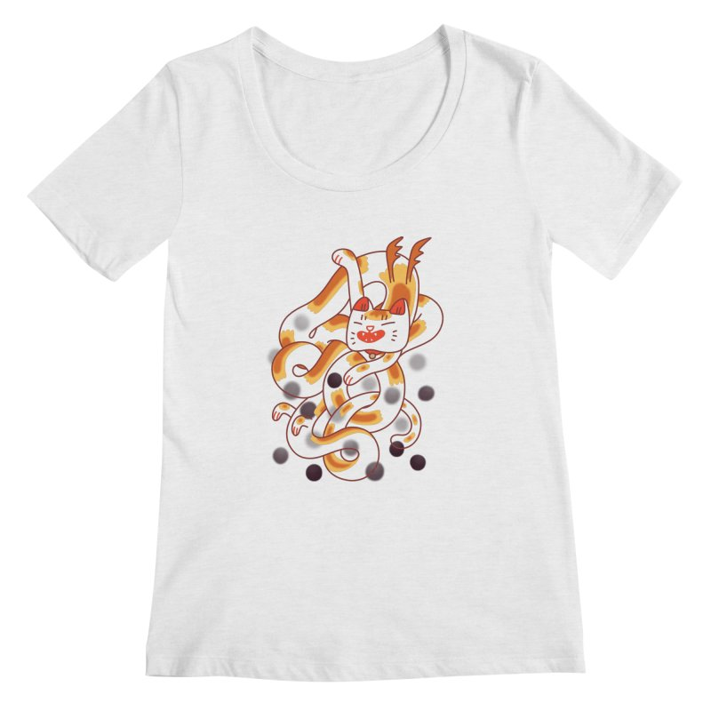 Boba Cat Dragon Women's Regular Scoop Neck by Burrito Goblin