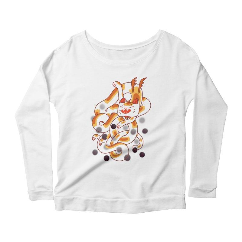 Boba Cat Dragon Women's Scoop Neck Longsleeve T-Shirt by Burrito Goblin