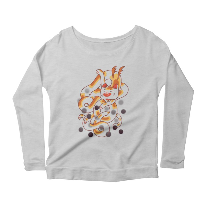 Boba Cat Dragon Women's Longsleeve T-Shirt by Burrito Goblin