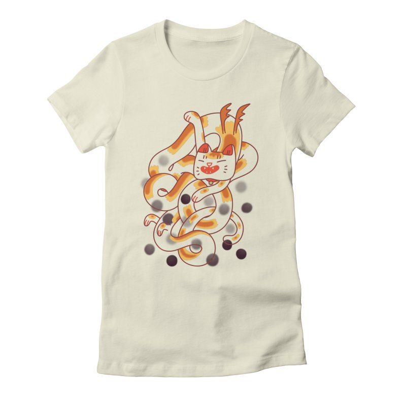 Boba Cat Dragon Women's Fitted T-Shirt by Burrito Goblin