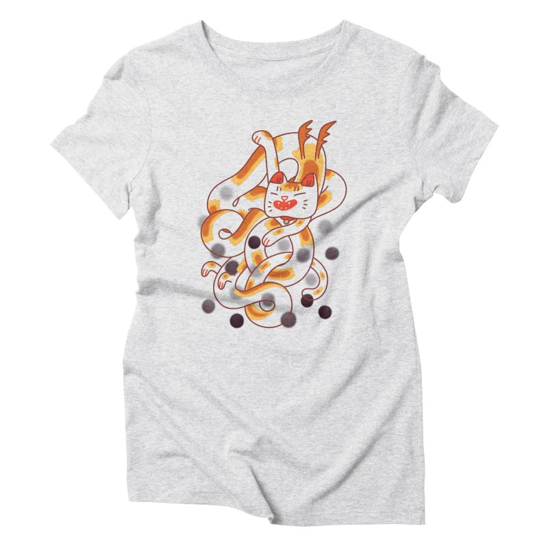 Boba Cat Dragon Women's Triblend T-Shirt by Burrito Goblin