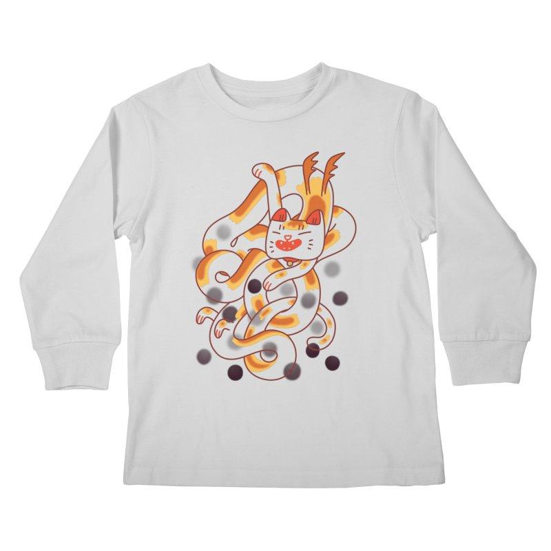 Boba Cat Dragon Kids Longsleeve T-Shirt by Burrito Goblin