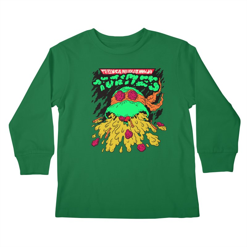 Barfabunga - Orange Kids Longsleeve T-Shirt by Burrito Goblin