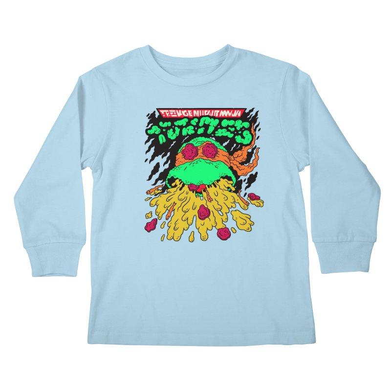 Barfabunga - Orange Kids Longsleeve T-Shirt by Burrito Goblin