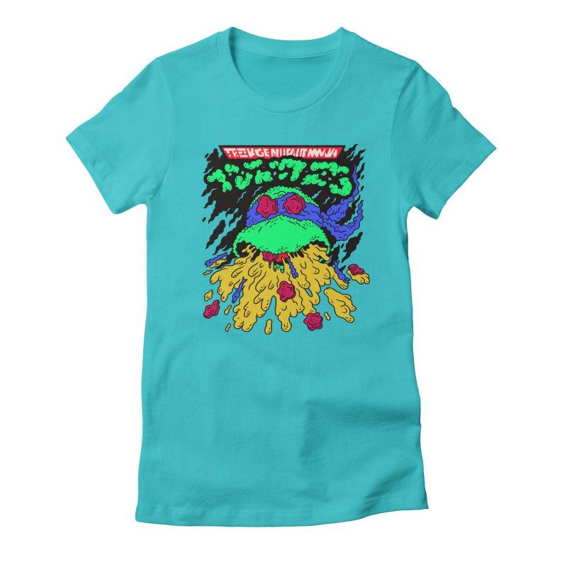 Barfabunga - Blue Women's Fitted T-Shirt by Burrito Goblin
