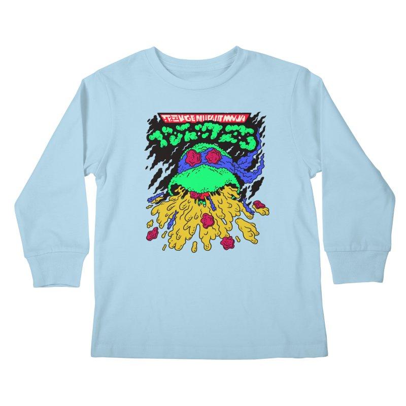 Barfabunga - Blue Kids Longsleeve T-Shirt by Burrito Goblin