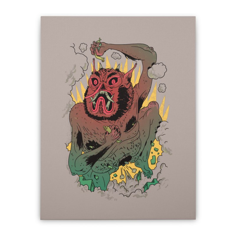 Oni Bologna Home Stretched Canvas by Burrito Goblin