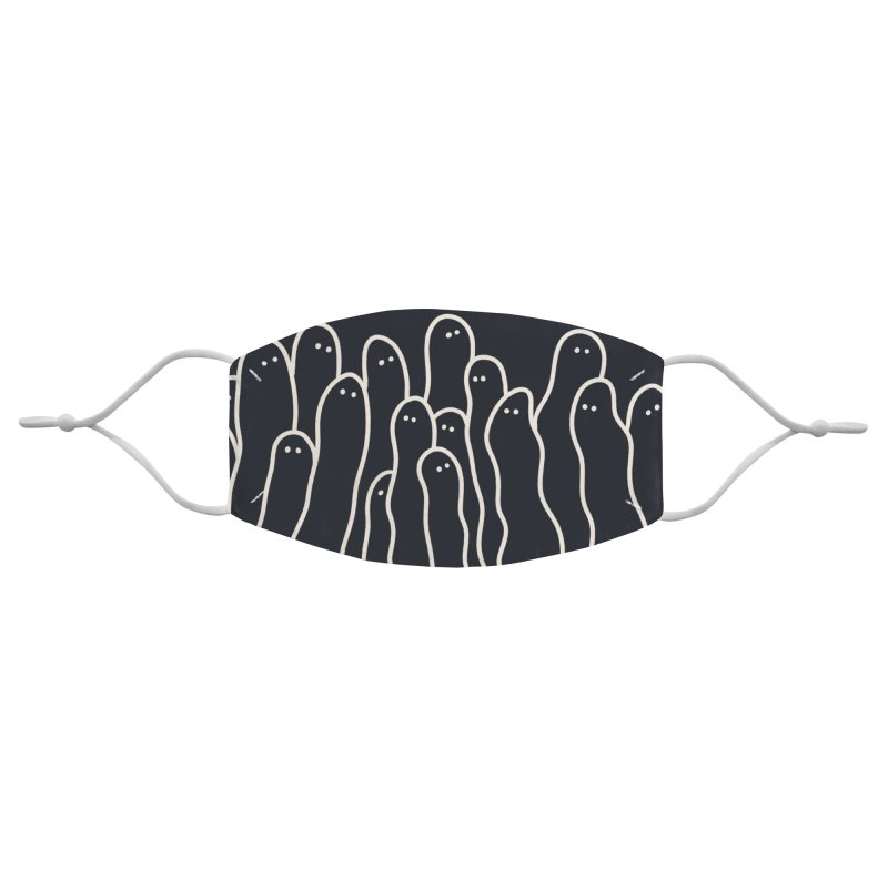 Squiggle Ghosts Dark Accessories Face Mask by Burrito Goblin