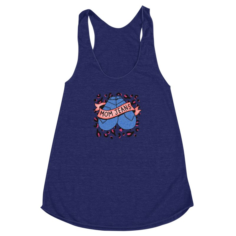 Mom Jeans <3 <3 <3 Women's Racerback Triblend Tank by Burrito Goblin