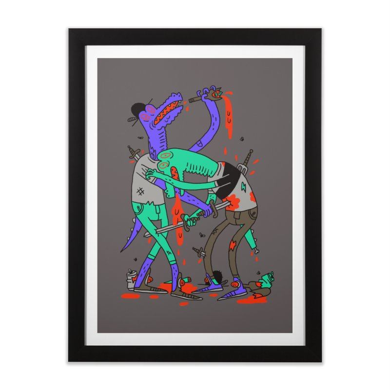 Drunk N Dinosaurderly Home Framed Fine Art Print by Burrito Goblin