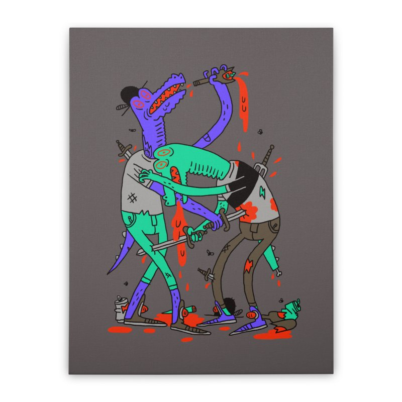 Drunk N Dinosaurderly Home Stretched Canvas by Burrito Goblin