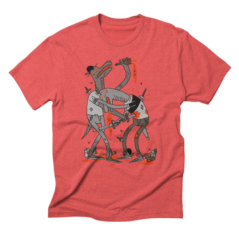 Drunk N Dinosaurderly in Men's Triblend T-shirt Chili Red by Burrito Goblin