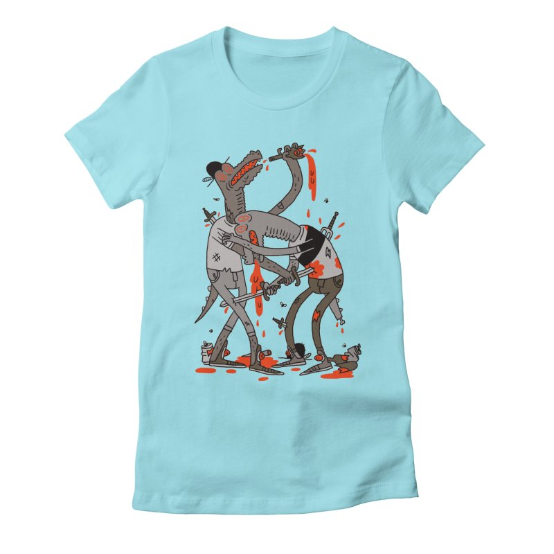 Drunk N Dinosaurderly Women's Fitted T-Shirt by Burrito Goblin