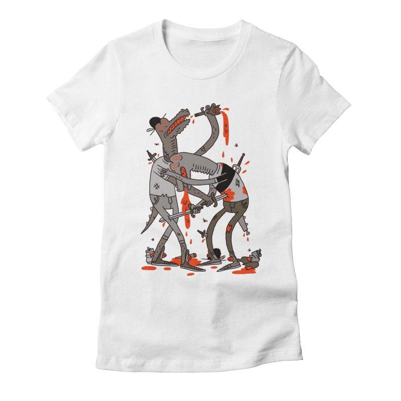 Drunk N Dinosaurderly Women's Fitted T-Shirt by Burrito Goblin