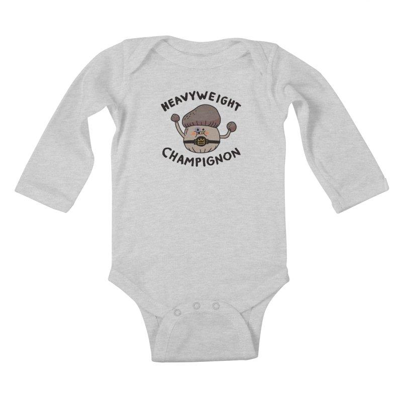 Heavyweight Champignon Kids Baby Longsleeve Bodysuit by Burrito Goblin