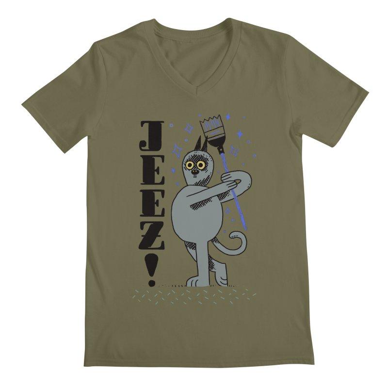 Jeez Men's V-Neck by Burrito Goblin