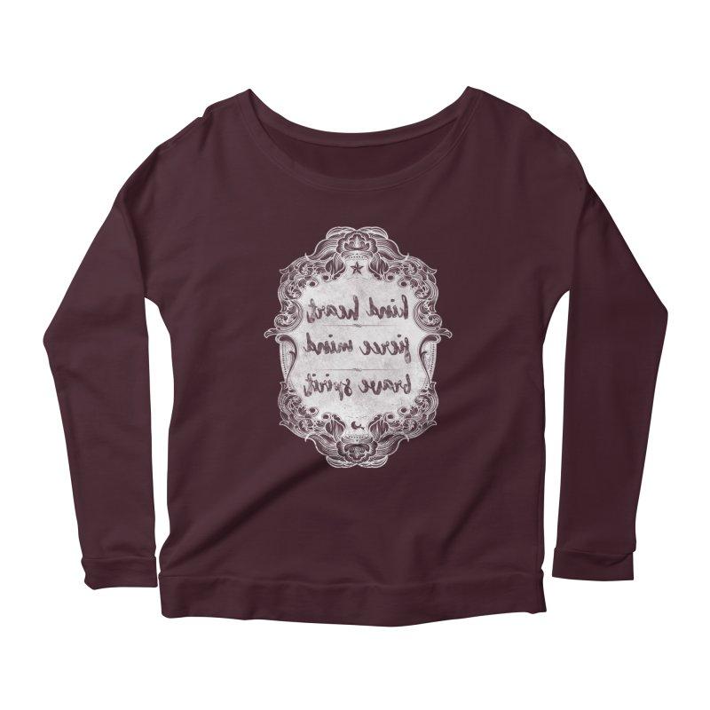 Kind Fierce Brave  -white Women's Scoop Neck Longsleeve T-Shirt by Nisa Fiin's Artist Shop
