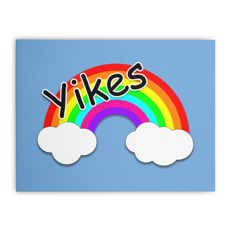 Yikes The Rainbow Home Stretched Canvas by busybee apparel
