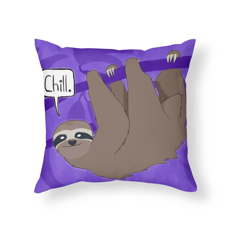 Chill (purple) Home Throw Pillow by busybee apparel
