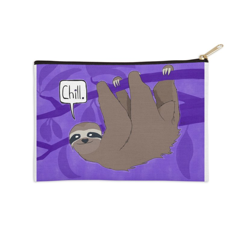 Chill (purple) Accessories Zip Pouch by busybee apparel
