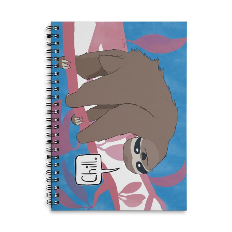 Chill (pink and blue) Accessories Lined Spiral Notebook by busybee apparel