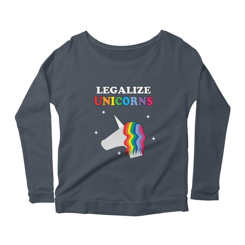 Legalize Unicorns Women's Scoop Neck Longsleeve T-Shirt by busybee apparel